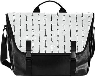 Bolso de lona con flecha blanca y negra para hombre y mujer, estilo retro, para el hombro, ideal para iPad, Kindle, Samsung