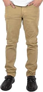 Carbon Mens Skinny Denim Jeans Slim Fit Chinos Trousers Zip Pants Bottoms