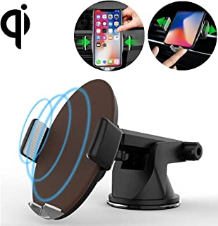 YKDY AU M11 Desktop Phone Holder 10W Max Fast Charging Qi Smart Wireless Charger Pad, for iPhone, Galaxy, Huawei, Xiaomi, LG, HTC and Other Smart Phones(Black) (Color : Brown)