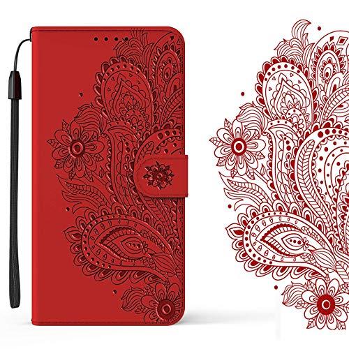 LEMAXELERS Galaxy S7 Edge Hülle,Galaxy S7 Edge Handyhülle 3D Prägung Blumen Mädchen Flip Case PU Leder Cover Magnet Schutzhülle Ständer Handytasche für Samsung Galaxy S7 Edge,YX Flower Red