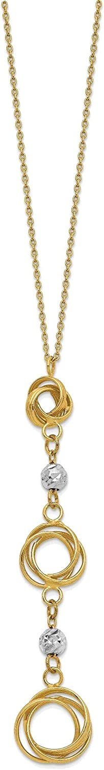 Bonyak Jewelry Two-Tone Graduated Love Knots with Diamond-Cut Beads Y-Necklace in 14K Yellow and White Gold