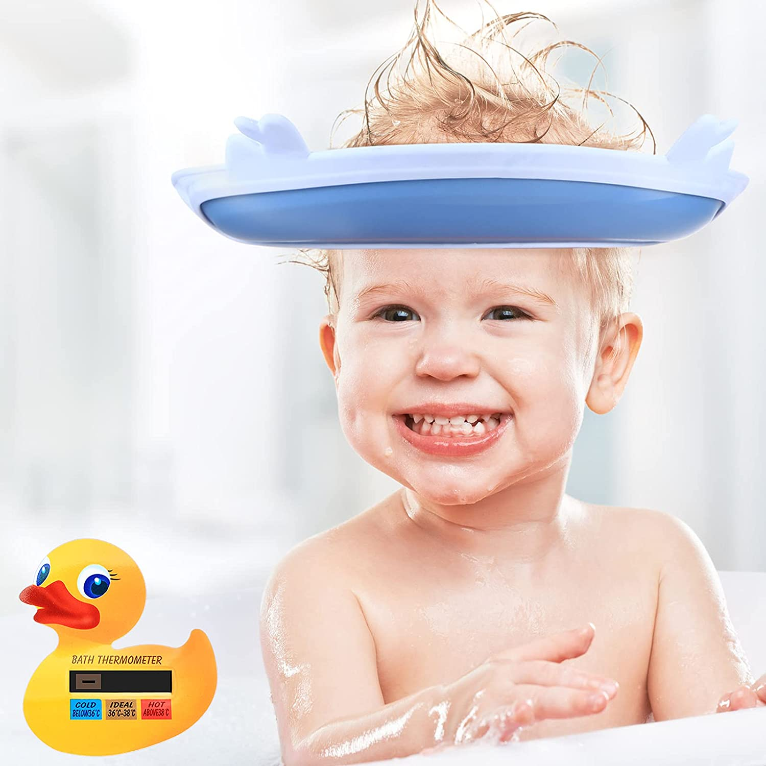 Baby Shower Hat Thermometer Set Baby Water Thermometer Duck Shape Bath Safety Thermometer and Silicone Baby Shampoo Cap Adjustable Baby Bath Visor Hat for Infant Newborn Toddler Children