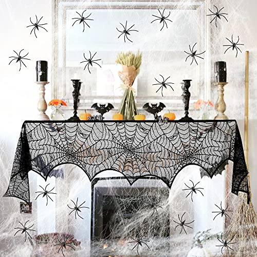 Sprinlot Telaraña Halloween, Tela de araña, Halloween Decoración Tela araña, 1pc Negra de Encaje, 60g telaraña elástica con 30 arañas, para Decoración de Halloween, Fiesta, Casa Embrujada, Chimeneas