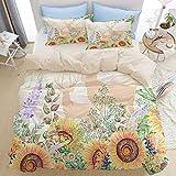 Set biancheria da letto 3 pezzi di qualità premium, cervo girasole su antichi fiori rustici, set copripiumino moderno deluxe con cerniera e 2 fodere per cuscini Ultimo unico copripiumino in morbida mi
