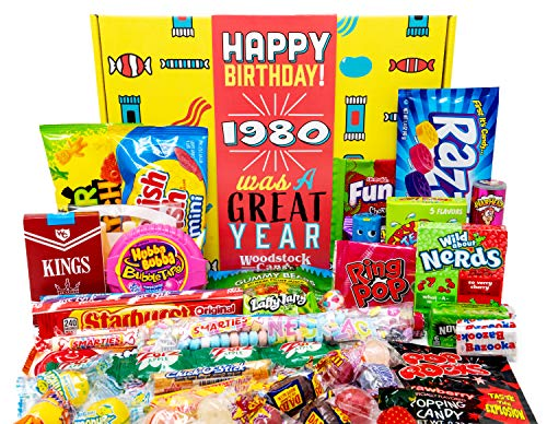 Woodstock Candy ~ 1980 Retro Candy 40th Birthday Gift Box Assortment from Childhood for 40 Year Old Man or Woman Born 1980