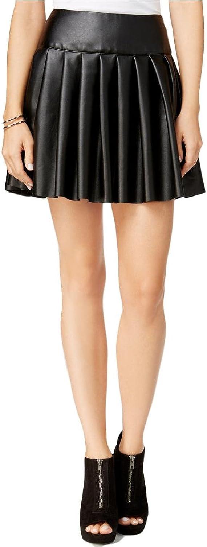 Chelsea Sky Womens Pleated Faux Leather Mini Skirt