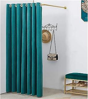 Armoire vestiaire en forme de L en coton et lin avec cadre en métal pour chambre à coucher, bureau (couleur : vert, taille...