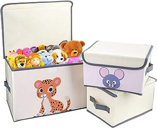 DIMJ Lot de 3 Boîte de Rangement Tissu pour Vêtements Jouets, Pliable Caisse de Rangement avec Couvercle et Poignée , Orga...