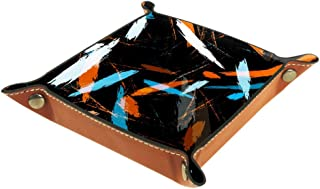 BestIdeas Panier de rangement carré 20,5 x 20,5 cm, avec lignes de pinceau, boîte organiseur sur table pour la maison, le ...