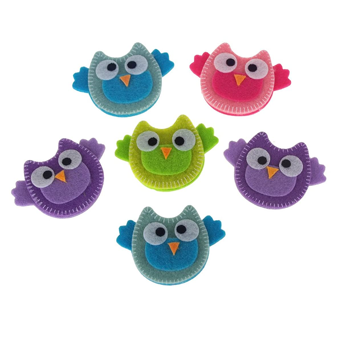 Homeford Self-Adhesive Pretty Owls Felt Die Cuts, 2-Inch, 6-Count