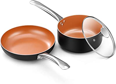 CSK Copper Nonstick Cookware Set - Nonstick and Saucepan, All Stove Tops Compatible, Oven-Safe, Multi-Ply, Ceramic Coating, PTFE & PFOA-free, Stainless Steel Handle, for Stew Boil Fry and Saute, 3 Pcs