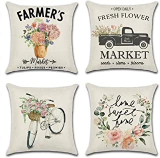 Farmhouse Floral Throw Pillow Covers - Set of 4 Vintage Truck Bicycle Flower Home Decorations Spring Market Cases Housewarming Gifts 18x18 Inches by UooMay
