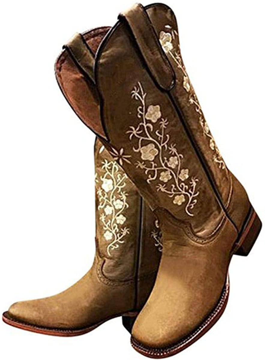 Furcross Women Retro Embroidered Mid Calf Boots Cowboy Cowgirl Boots Square Toe Chunky Heel Western Boots