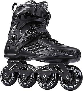Inline Skates Professional Slalom Adult Roller Skating Shoes Sliding Free Skate Patins Size 36-44Good As Sneakers,Black,44