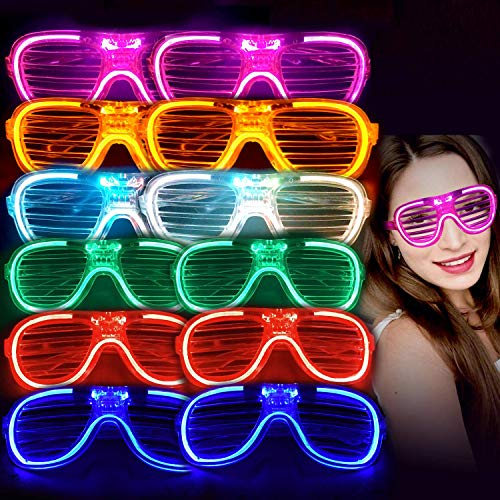 M.best Light Up Glow Glasses, 12 Pack Glow in The Dark LED Shutter Shades Sunglasses Party Supplies for Kids or Adults (C Style)