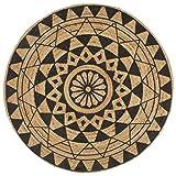 vidaXL Alfombra Redonda de Yute Tejida a Mano Tapete Alfombrilla Felpudo Moqueta Tapiz Esterilla Artesanía Decoración Diámetro 90 cm Negro