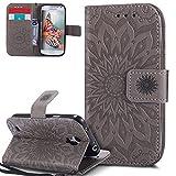 HMTECH Galaxy S4 Case Mandala Flower Embossing PU Leather