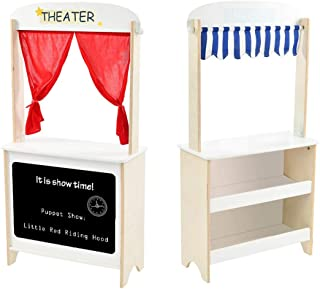 labebe - Wood Puppet Theater for Kid, Flannel Curtain Puppet Stage Theater, 2 Sided Tabletop Puppet Stage Chalkboard, 2-i...