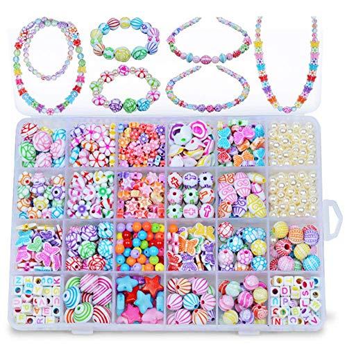 DAIRF Perlen Zum Auffädeln,24 Gitter Perlen Kinder Perlen Spielzeug Kinder DIY Perlen Schmuck Mädchen Handgemachte Halskette Armband Tragen Perlen