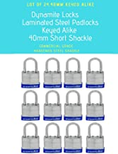 Pack of 24 Units, Dynamite Lock Premium Padlock Set Keyed Alike Laminated Steel 40MM Short Shackle 1.5
