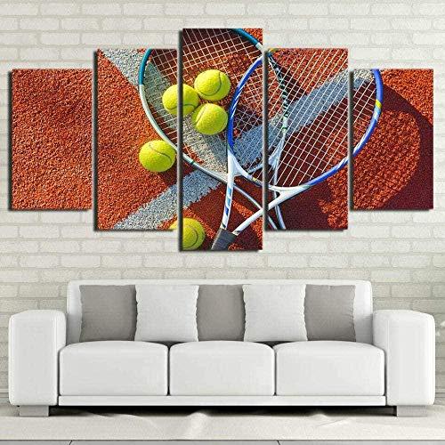 5 cuadros de lienzo imágenes de impresión de alta definición Imágenes de fondo de dormitorio y carteles enmarcados- Pelota de raqueta de tenis