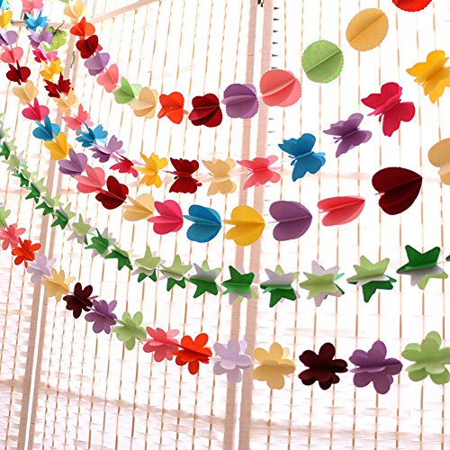 Baoer 3D Colorful Clouds Curtain Hanging Paper Flower, Polka Dots,Love Heart, Stars, Butterflies, Flower Hanging Paper Party Streamers for Wedding Decoration Party Decoration Star