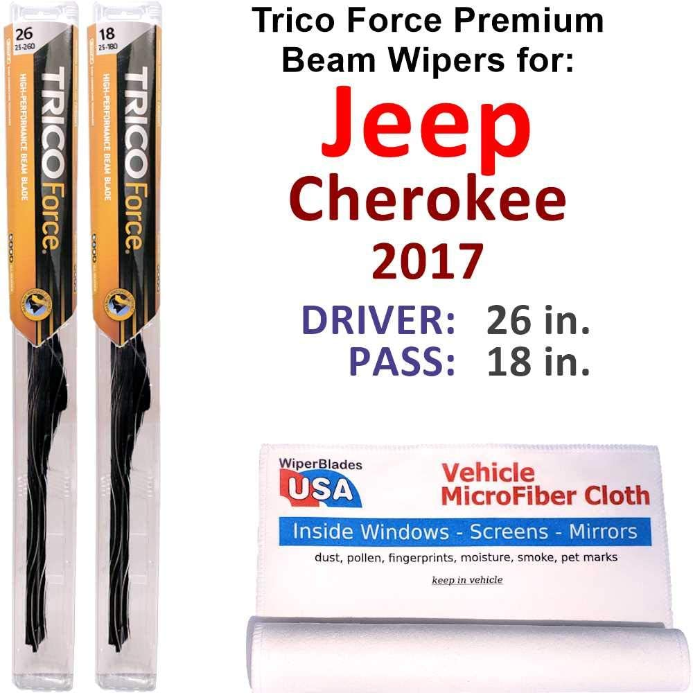 激安通販販売 Premium Beam Wiper Blades for 2017 Set Jeep 割引も実施中 Cherokee Force Trico