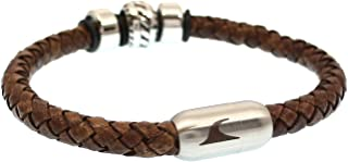 WAVEPIRATE Echt Leder-Armband Steel F Cognac/SI Männer Herren