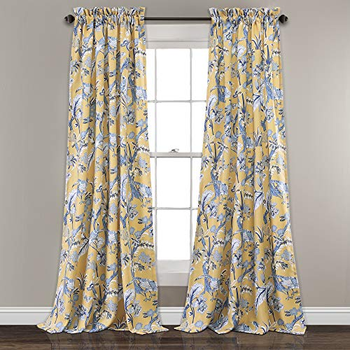 "Lush Decor, Yellow Curtains Dolores Darkening Window Panel Set for Living, Dining Room, Bedroom (Pair), 95"" x 52"", Blue"