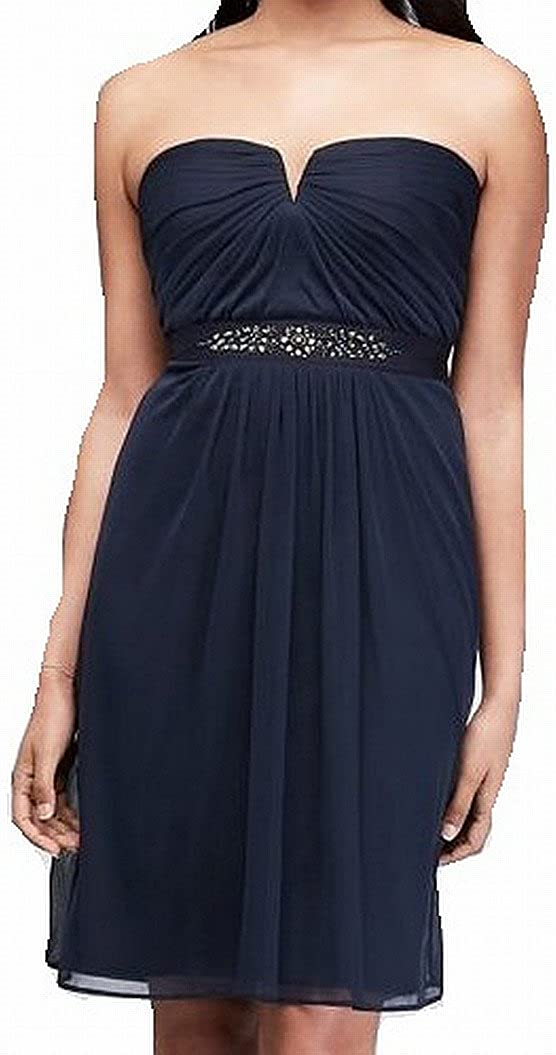 Adrianna Papell Women's Strapless Ruched Dress (12, Midnight) Blues