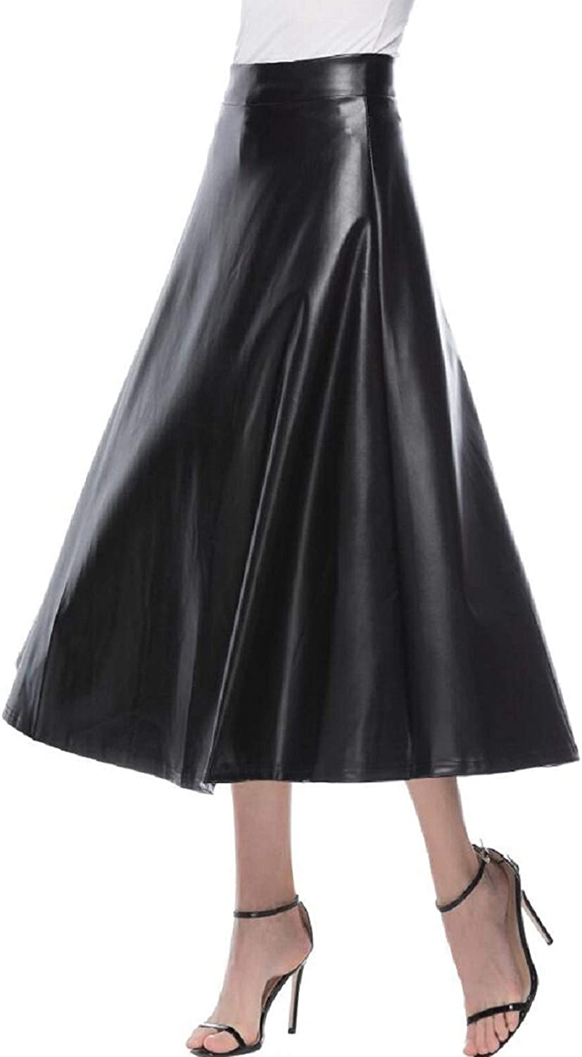 iCODOD Women Faux Leather Pleated Maxi Skirt A-Line Casual Loose Flared Midi Skirt Elegant Vintage Stretchy Casual OL