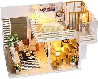 XYZMDJ trä dockhus miniatyrer gör-det-själv hus kit med lock och LED-ljus fritid läsrum