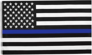 RainRoad Thin Blue Line Flag 3x5 ft, Printed Polyester Double-Sided US Military Banner|for Inside/Outside Use|UV Protected,Long Lasting| Brass Grommets for Easy Display|U.S.Flag(Thin Blue Line Flag)