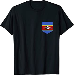 Swaziland Flag with Printed Swazi Flag Pocket T-Shirt