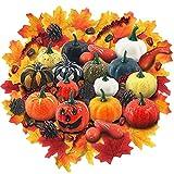 Calabazas Artificiales de Acción de Gracias, 149 Piezas de Decoración de Otoño con Calabaza, Hojas de Arce, Calabaza, Piñas, Bellotas, Juego de Verduras de Cosecha de Bricolaje para Halloween Navidad
