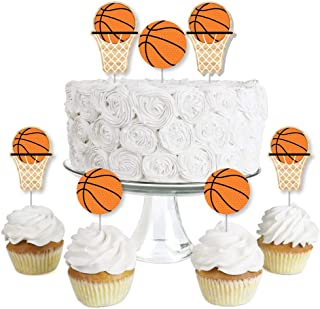 Big Dot of Happiness Nothin` but Net - Basketball - Dessert Cupcake Toppers - Baby Shower or Birthday Party Clear Treat Picks - Set of 24