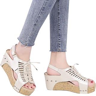 99dca5198e5b7e TANGSen Women Open Toe Breathable Beach Casual Sandals Rome Elastic Band  Wedges Fashion Shoes Sandals