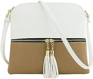 Waymine Women's Leather Shoulder Bags Tassel Crossbody Bag Hit Color Panelled Square Messenger Bag