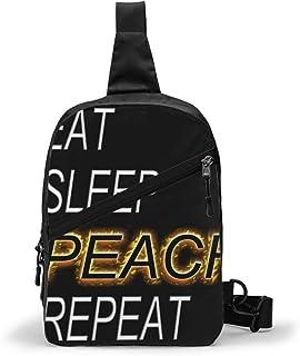 Eat Sleep Peach Repeat Bolso Bandolera De Hombre Bolso Cruzada Hombre Bolsa De Pecho Sling Bag Crossbody Para Al Aire Libr...