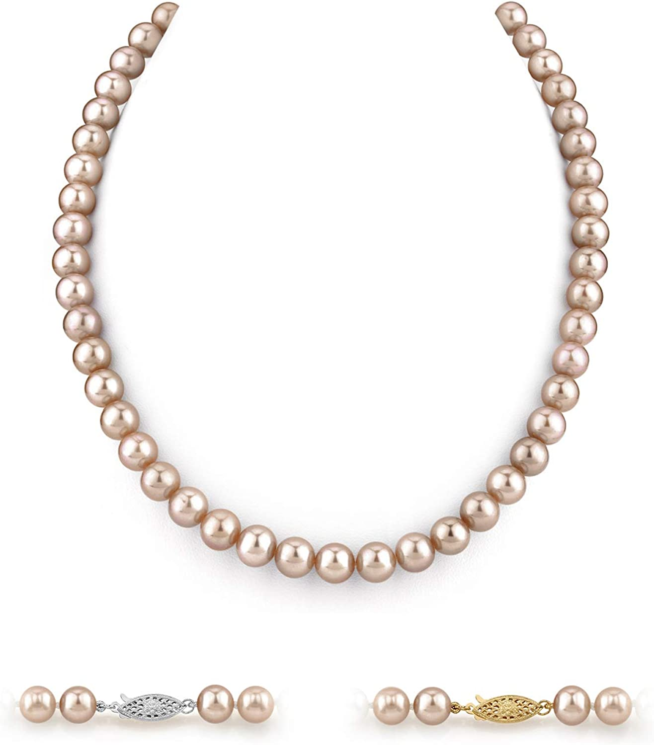 THE PEARL SOURCE 14K Gold 7-8mm AAAA Quality Pink Freshwater Cultured Pearl Necklace for Women in 18