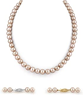 Long 24 Genuine 8-8.5mm White Round Pearl Strand Necklace Rose Clasp Cultured Freshwater PEARL ROMANCE