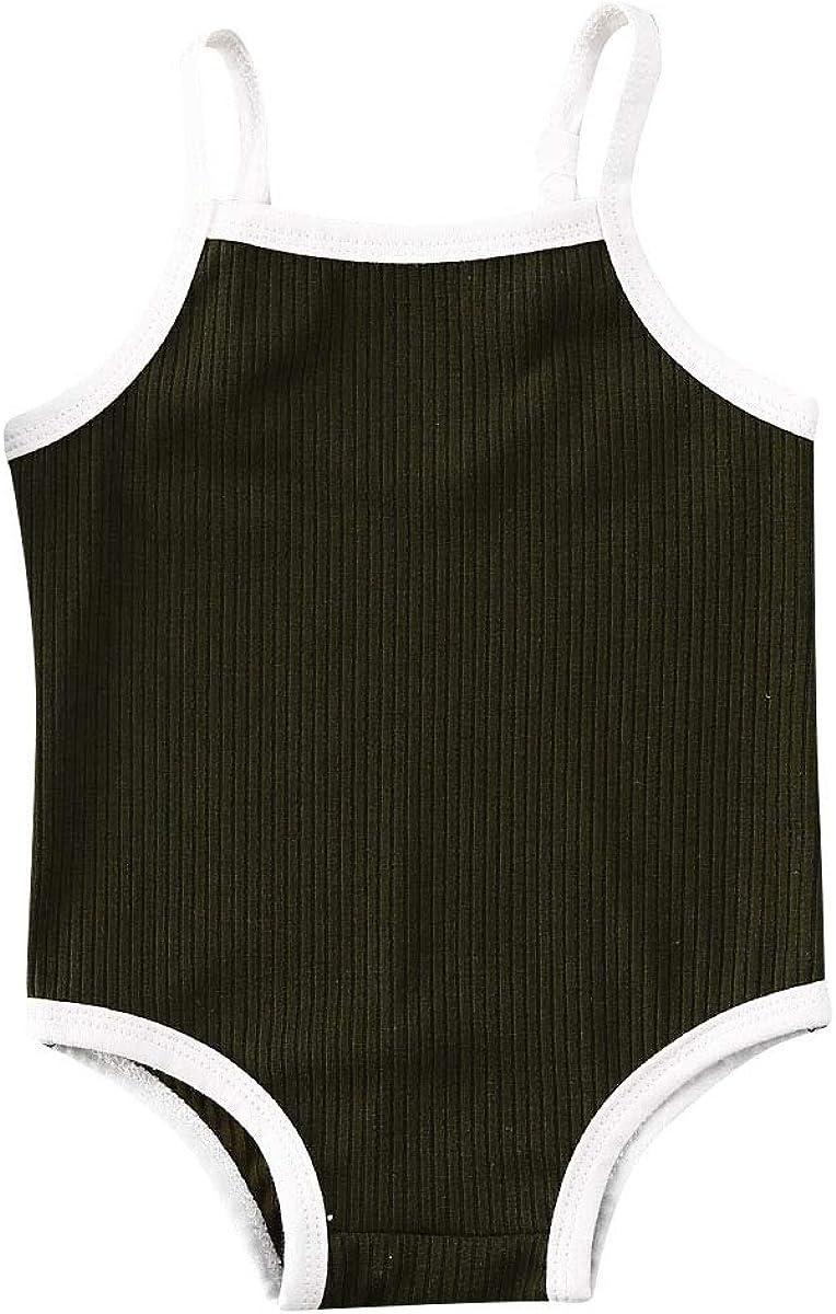 Liyamiee Newborn Baby Girls One-Piece Swimsuit Solid Color Sleeveless Quick Dry Swimwear Bathing Suit Beachwear