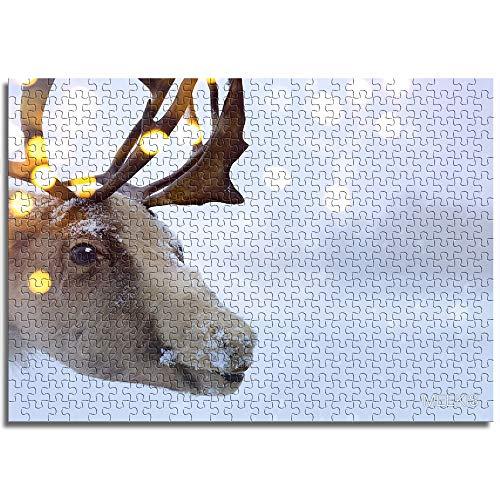 CELLYONE MEEKIS Kinderpuzzle 500 Stück Niedlicher Elch im Schnee Lernspiele, Puzzle für Kinder