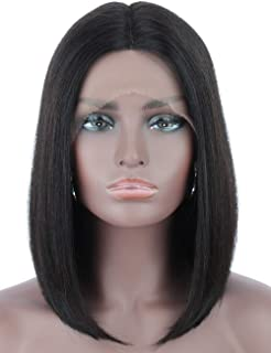 Beauart Straight Short Bob Human Hair Wigs 100% 8A Black Remy Lace Front Wigs Middle Parting Lace Frontal Human Hair Wigs for Black Women with Pre Plucked Hairline, 12 inch
