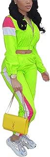 Women Casual Tracksuit 2 Piece Zip Top and Elastic Waistband Pant Women Windbreaker Tracksuit Set