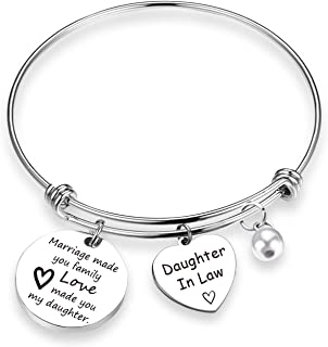 TOGON Daughter in Law Gift Marriage Made You My Family Love Made You My Daughter in Law Bracelet Wedding Jewelry Bride to Be Gift
