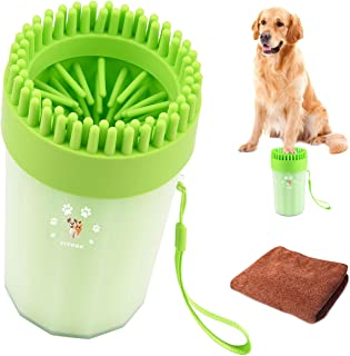 YITOOK Portable Dog Paw Cleaner,【2 in 1 Upgraded Version】 Dog Cleaner with Towel Dog Cleaning Brush Paw Cleaner for Dogs and Cats
