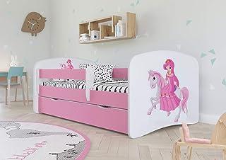 Wonderhome Kids Lit d'enfant Complet 70x140 80x160 80x180 sommier tiroir barrierères Matelas pour Filles garçons lit Simpl...