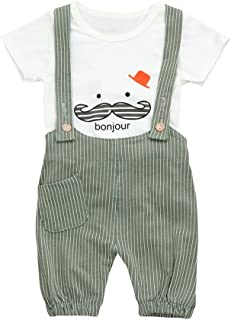 Camisa bebé Niño Petos Niños Ropa Recién Nacidos Bebe Niño Ropa Bebé Niño Verano Conjunto Bebe Niño Impresión de Bigote Casual Camiseta de Manga Corta Tops y Pantalones