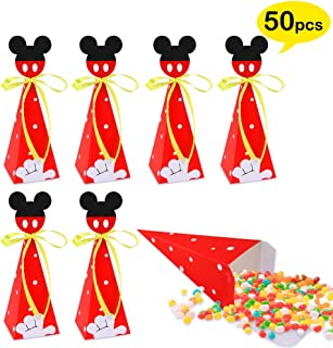 50 PCS Mickey Mouse Candy Boxes, Mickey Mouse Goodie Gift Bags for Kids Birthday Party Supplies Baby Shower Mickey Theme Party Decorations